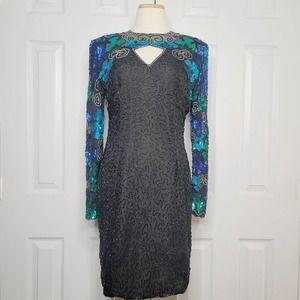 Laurence Kazar Vintage Long Sleeve Sequined Dress
